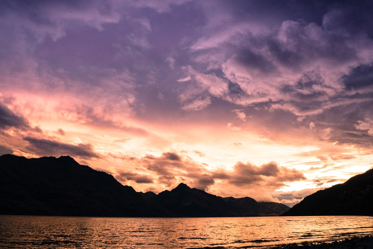 Things to do in Queenstown: Watch the Sunset from the beach