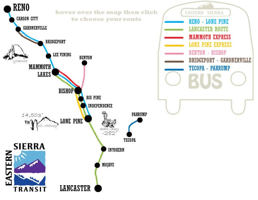 Eastern Sierra Transit Map