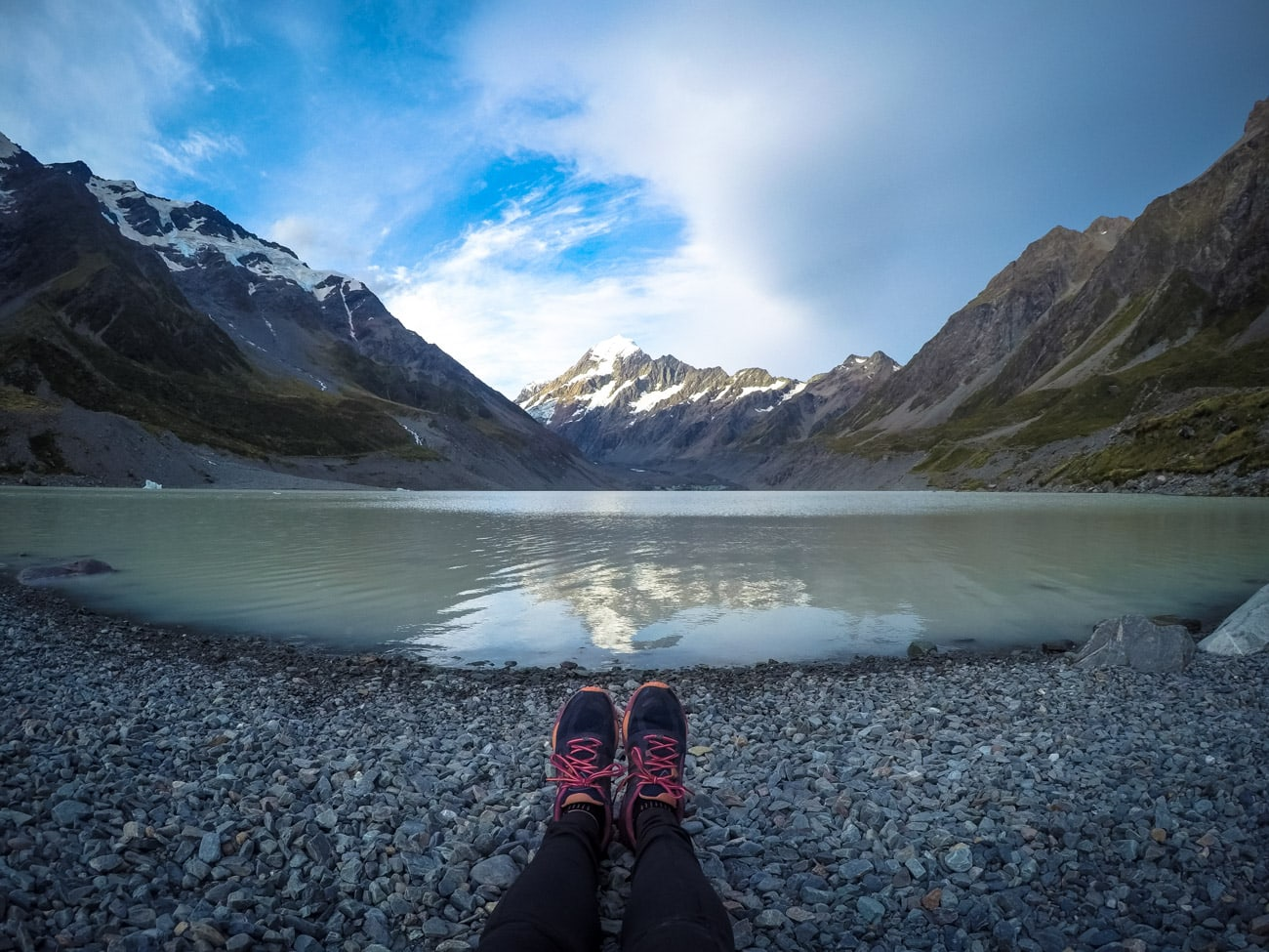 Me and my Brooks Cascadia shoes at New Zealand's Mount Cook National Park