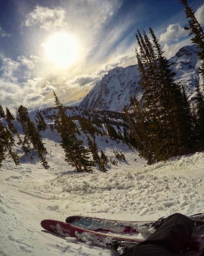 The track to High Rustler at Alta Ski Area