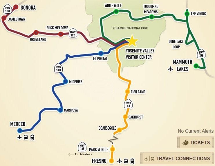 Mammoth Lakes to Yosemite YARTS map
