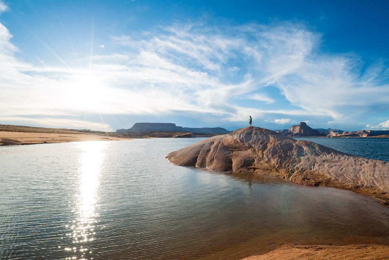 Camping at the mouth of Labyrinth Canyon on Lake Powell