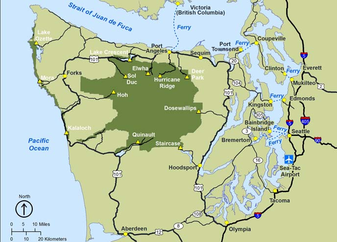 Olypmic National Park location map