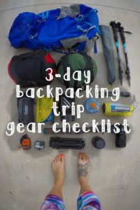 3 day backpacking trip gear checklist