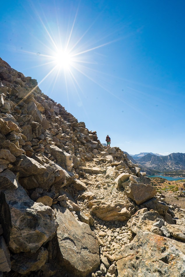 Hiking over Bishop Pass in California's Eastern Sierras