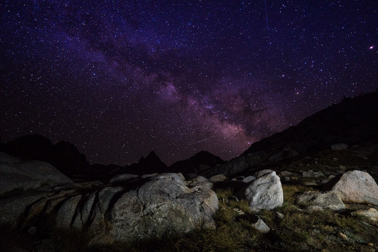 Milky Way over Dusy Basin in Kings Canyon National Park