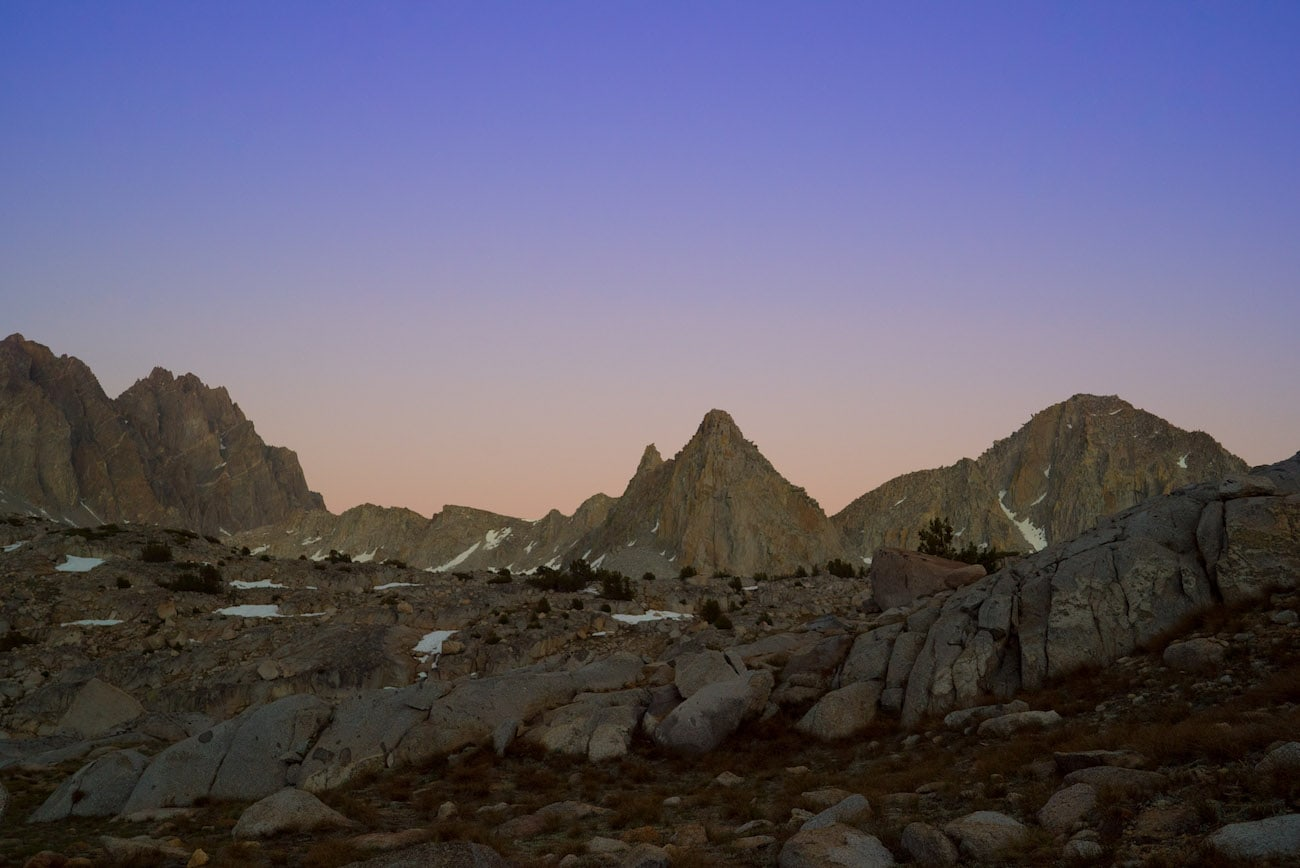 Sunset over Dusy Basin in Kings Canyon National Park