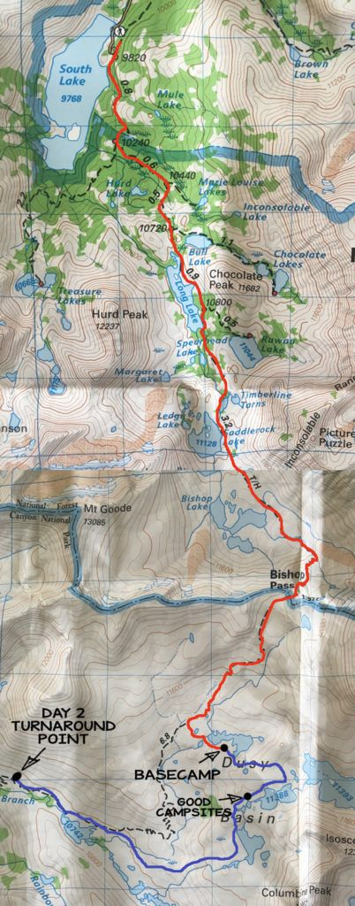 Dusy Basin Backpacking Map & Itinerary