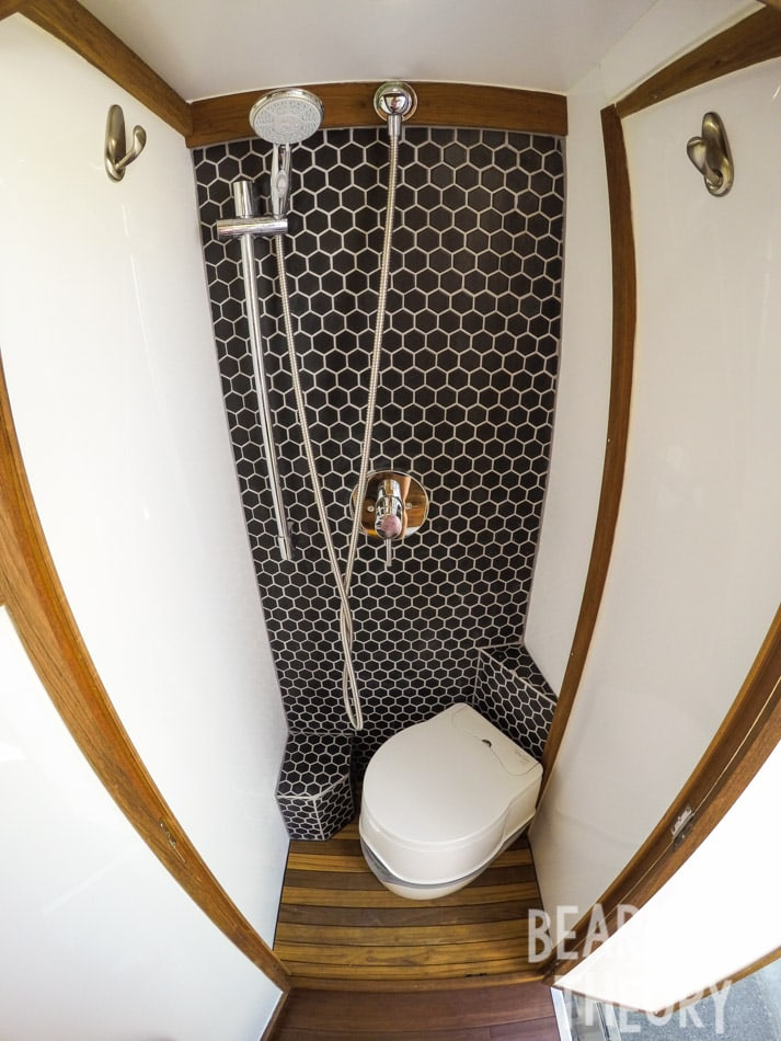 My Sprinter Van conversion has a full custom bathroom with a shower and porta-potti. Get the details in this blog post.