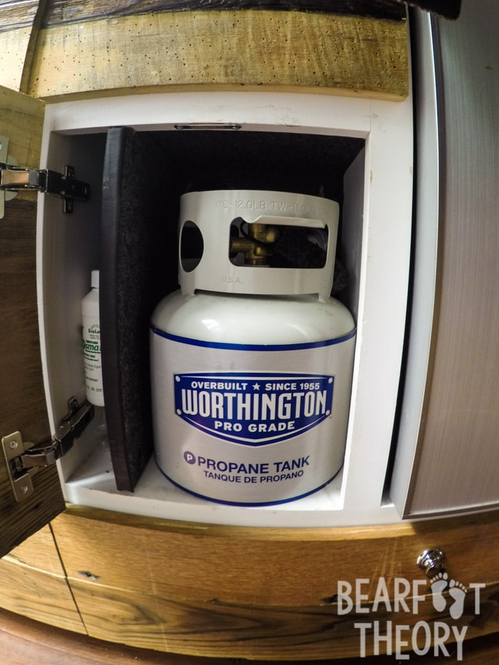 The two-burner stove in my 4x4 sprinter van runs off this 1 gallon propane tank stored under the sink. Get more info in this detailed blog post.
