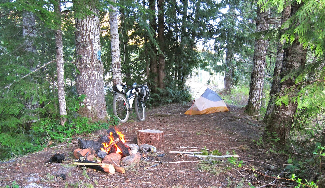 Bikepacking Tips including how to set up camp