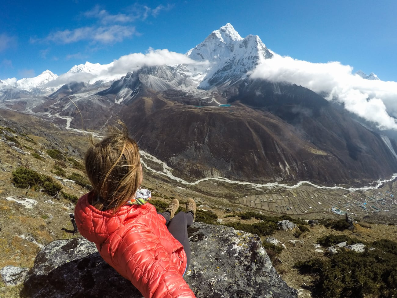 Everest basecamp trek photos - Ama Dablam views above Dingbouche