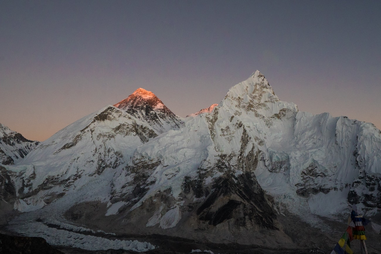 Sunset over Mount Everest from the top of Kala Pattar