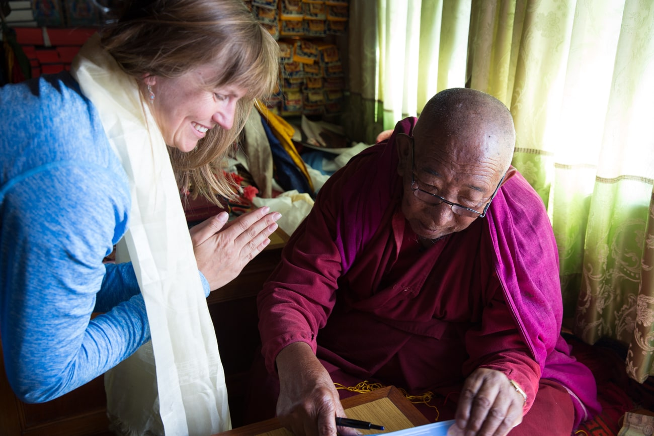 Everest basecamp trek photos - meeting with Lama Geshe in Pangoche
