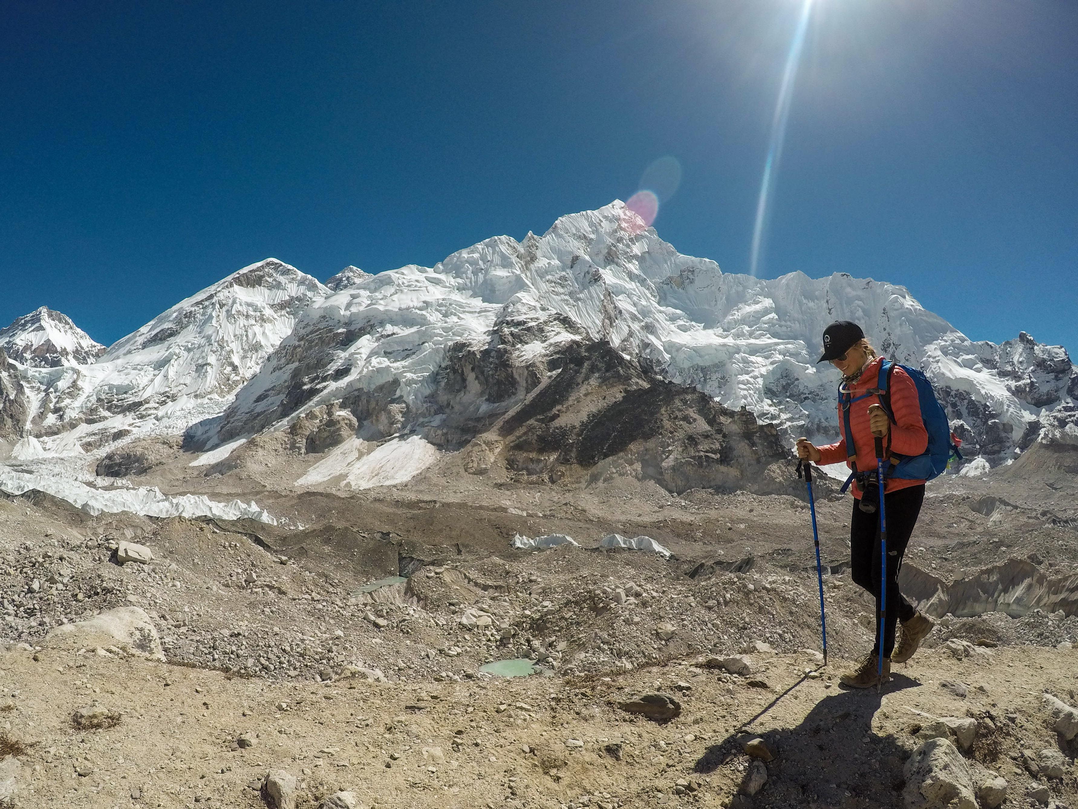 Everest basecamp trek photos - Mount Everest showing in the distance