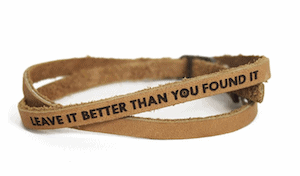 Outdoorsy gifts that give back: Parks Project Leave it better than you found it bracelet