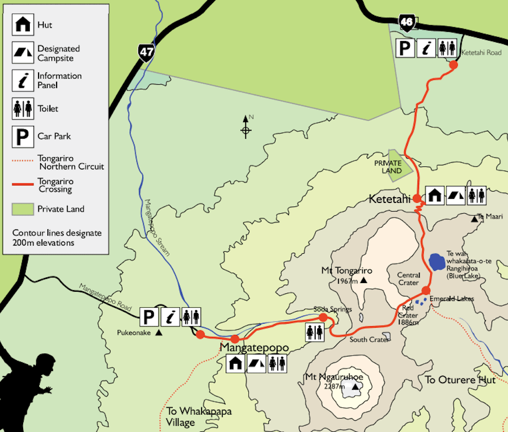 Tongariro Crossing Trail Map via DOC