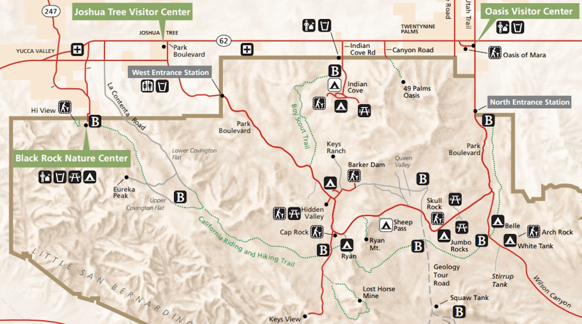 Plan a Joshua Tree backpacking trip w/ this detailed guide and itinerary to the 35 mile California Hiking & Riding Trail, w/ info on gear & water caches // Joshua Tree map