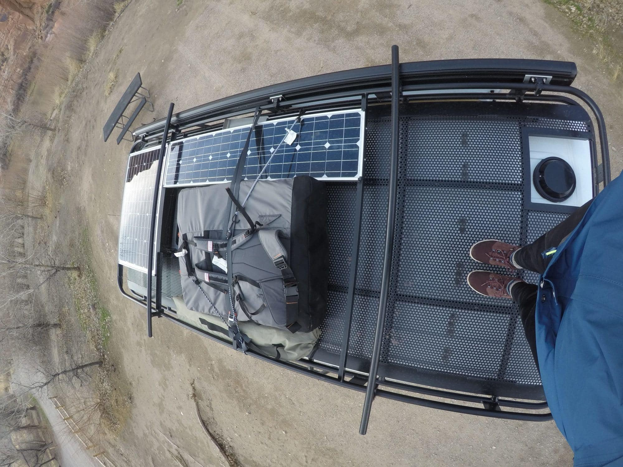 A detailed Aluminess review with pros/cons & a video tour of my Aluminess Sprinter Van roof rack, ladder, and rear bumper storage system.