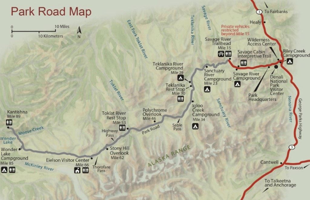 Denali National Park Map // This Alaska road trip itinerary will take you through the best of the state including Kenai Fjords & Denali National Park.