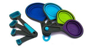 Collapsible measuring cups save space in your camper van kitchen drawers