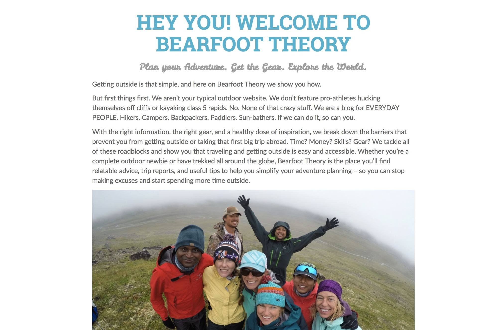 Bearfoot Theory About page // Want to start an outdoor travel blog? This step-by-step guide walks you through choosing a domain name, getting started on social, launching a wordpress site & more.