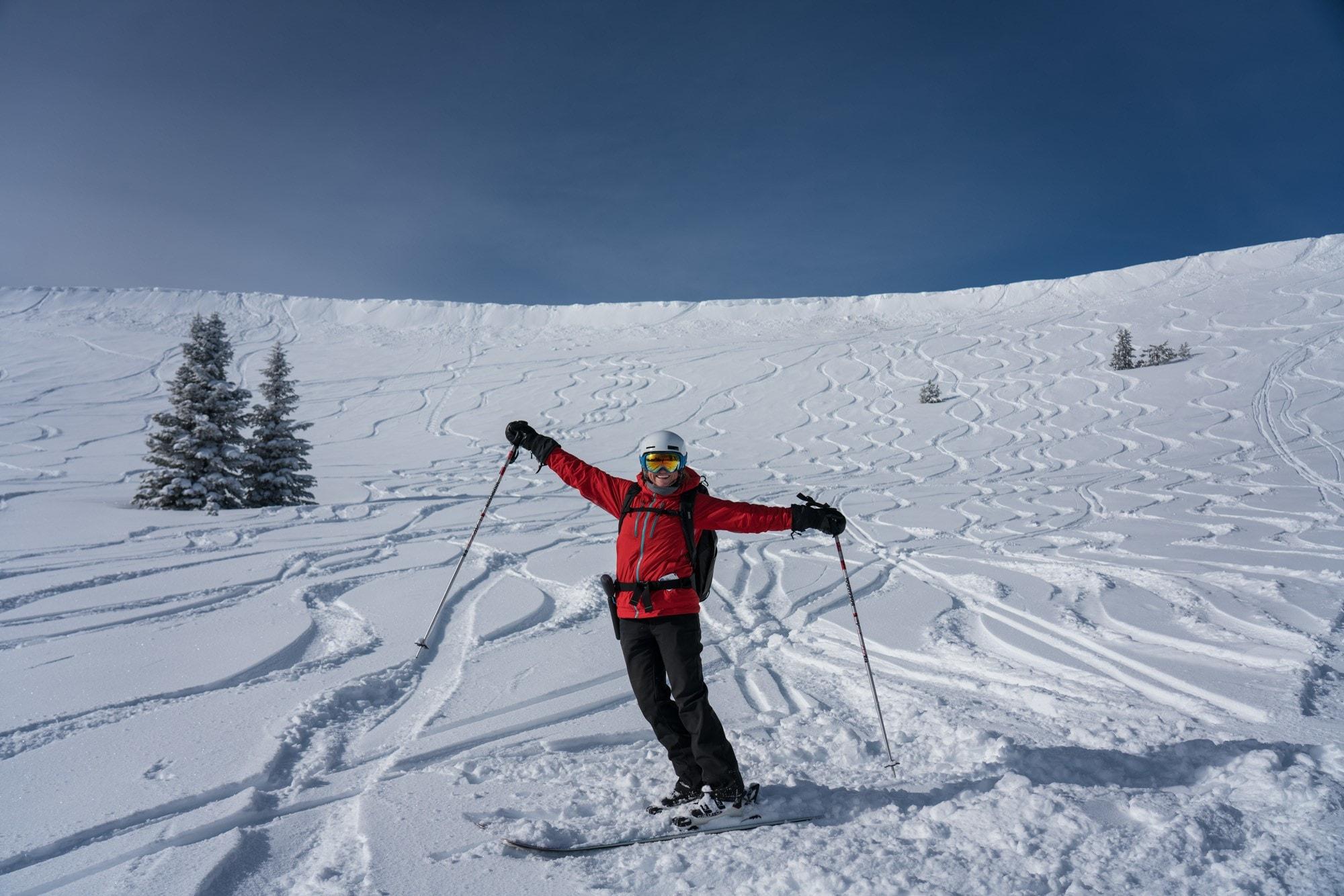 Skiing powder at Tamarack in Idaho