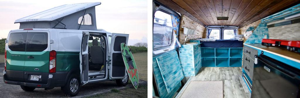 Hawaii Surf Campers // Rent an adventure mobile from one of these camper van rental companies and choose from Sprinters, Vanagons, Transits, Sportsmobiles & more!