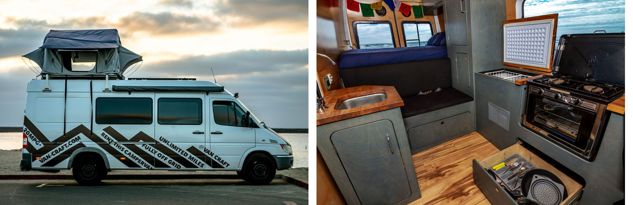 VanCraft Rental // Rent an adventure mobile from one of these camper van rental companies & choose from Sprinters, Vanagons, Ford Transits, Sportsmobiles & more!