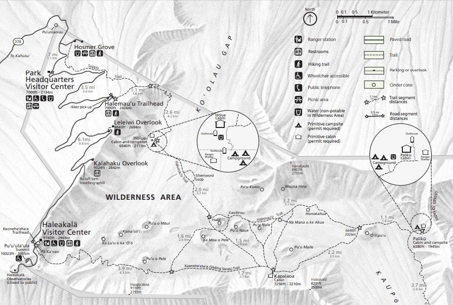 Haleakala National Park Hiking Map