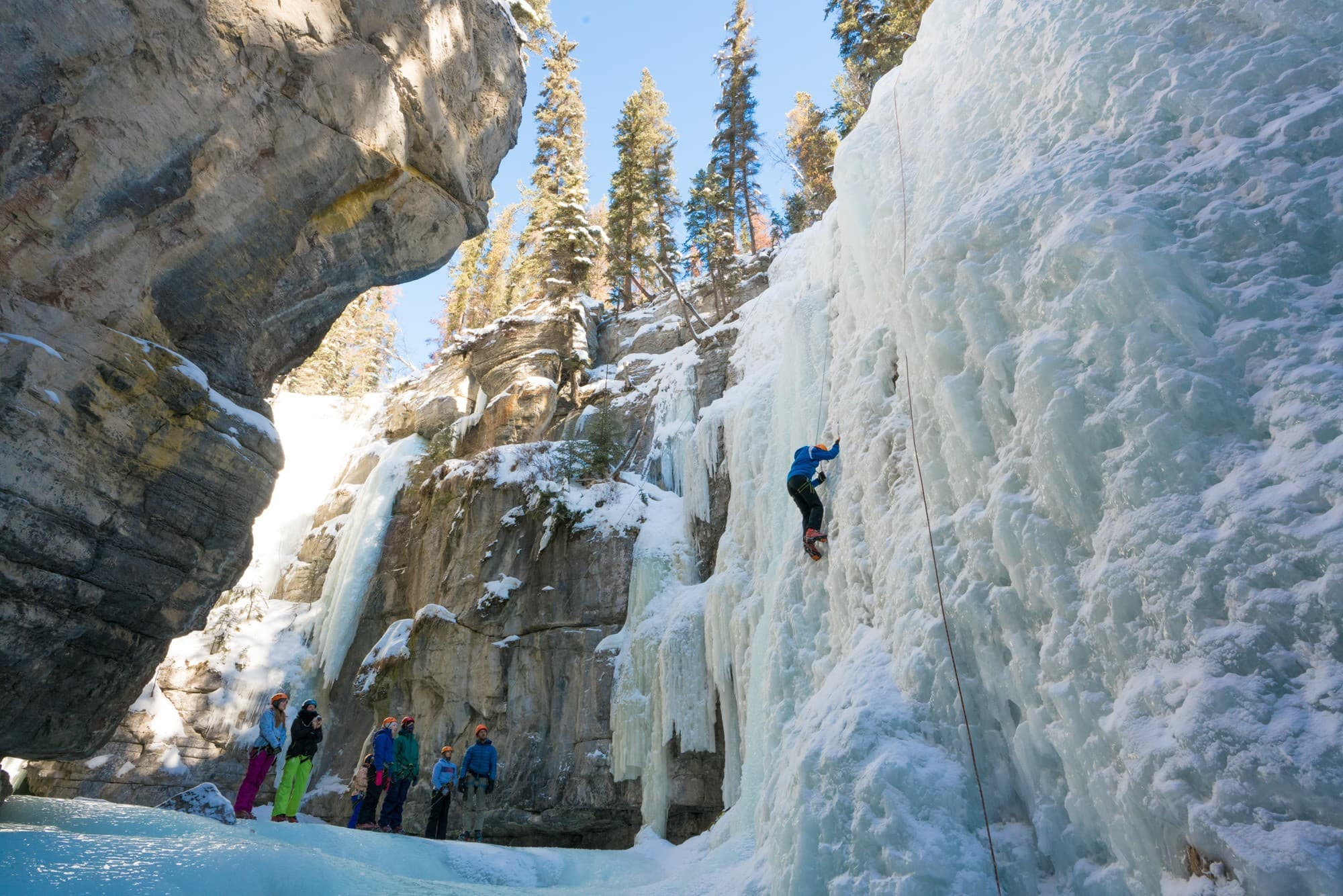 Ice climbing in Maligne Canyon // Plan the ultimate winter getaway in the Canadian Rockies. This 4-day Jasper National Park winter itinerary gives you an adventurous day-by-day plan, plus info on how to get to Jasper, the best restaurants & where to stay.