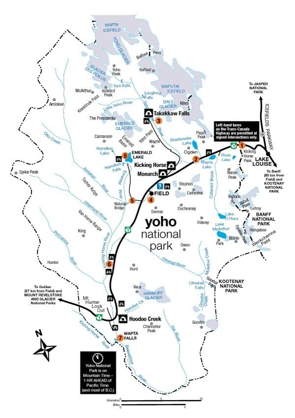 Yoho National Park Campground Map