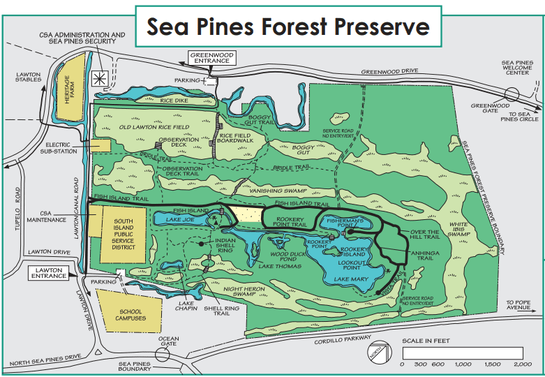 Sea Pines Forest Preserve Map // Plan an active vacation with the best outdoor activities on Hilton Head Island including hiking, biking, kayaking, and more.