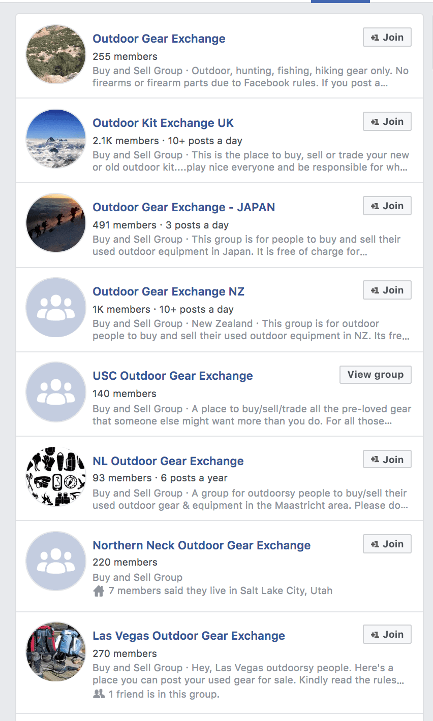 Facebook groups can be a handy place to find discounted outdoor gear online
