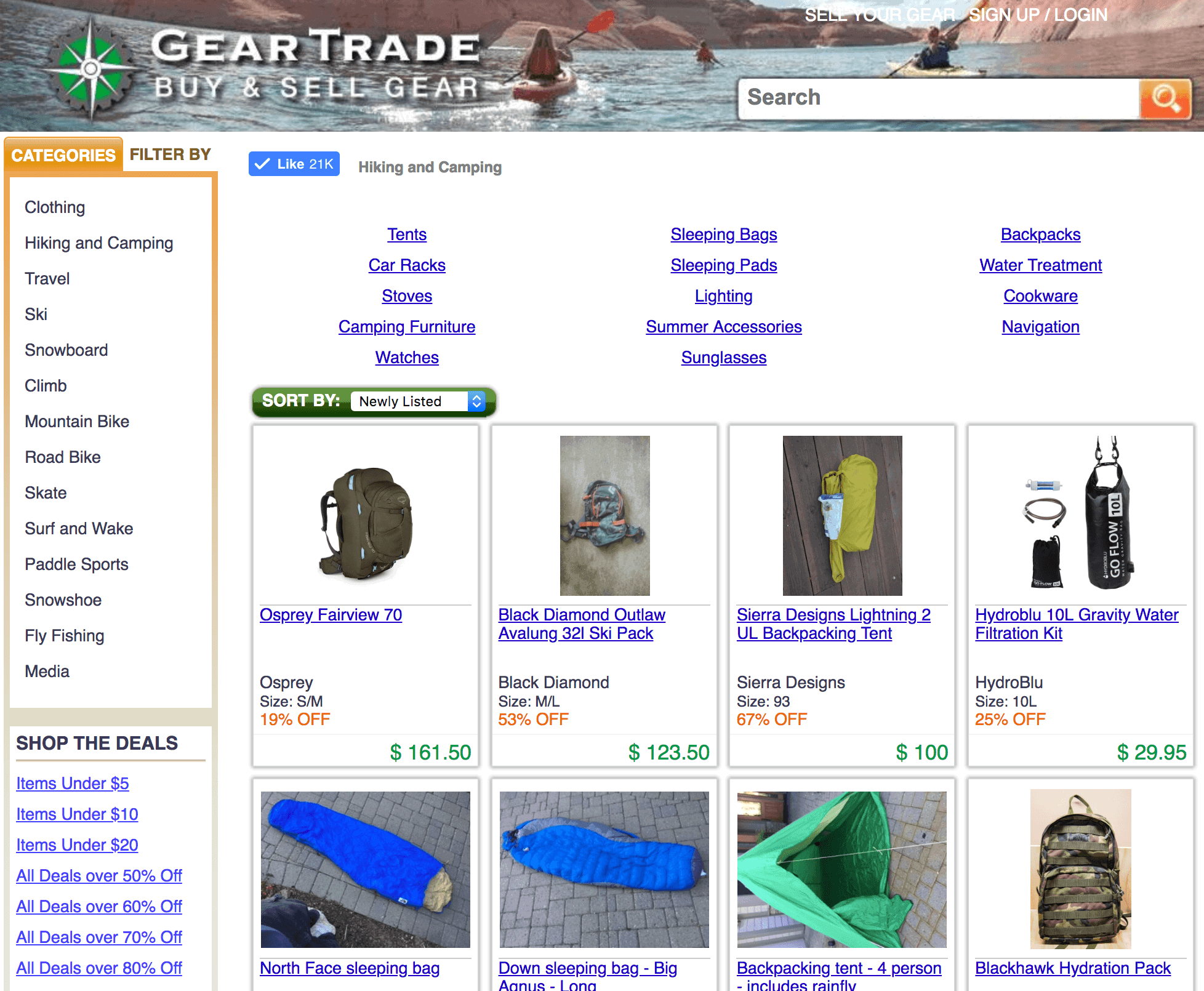 Gear Trade - an online marketplace for used and discounted outdoor gear