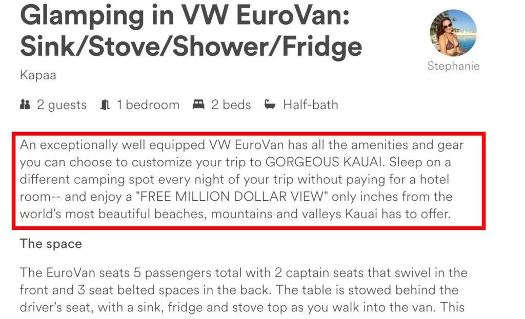 Eurovan Kauai misleading Airbnb listing