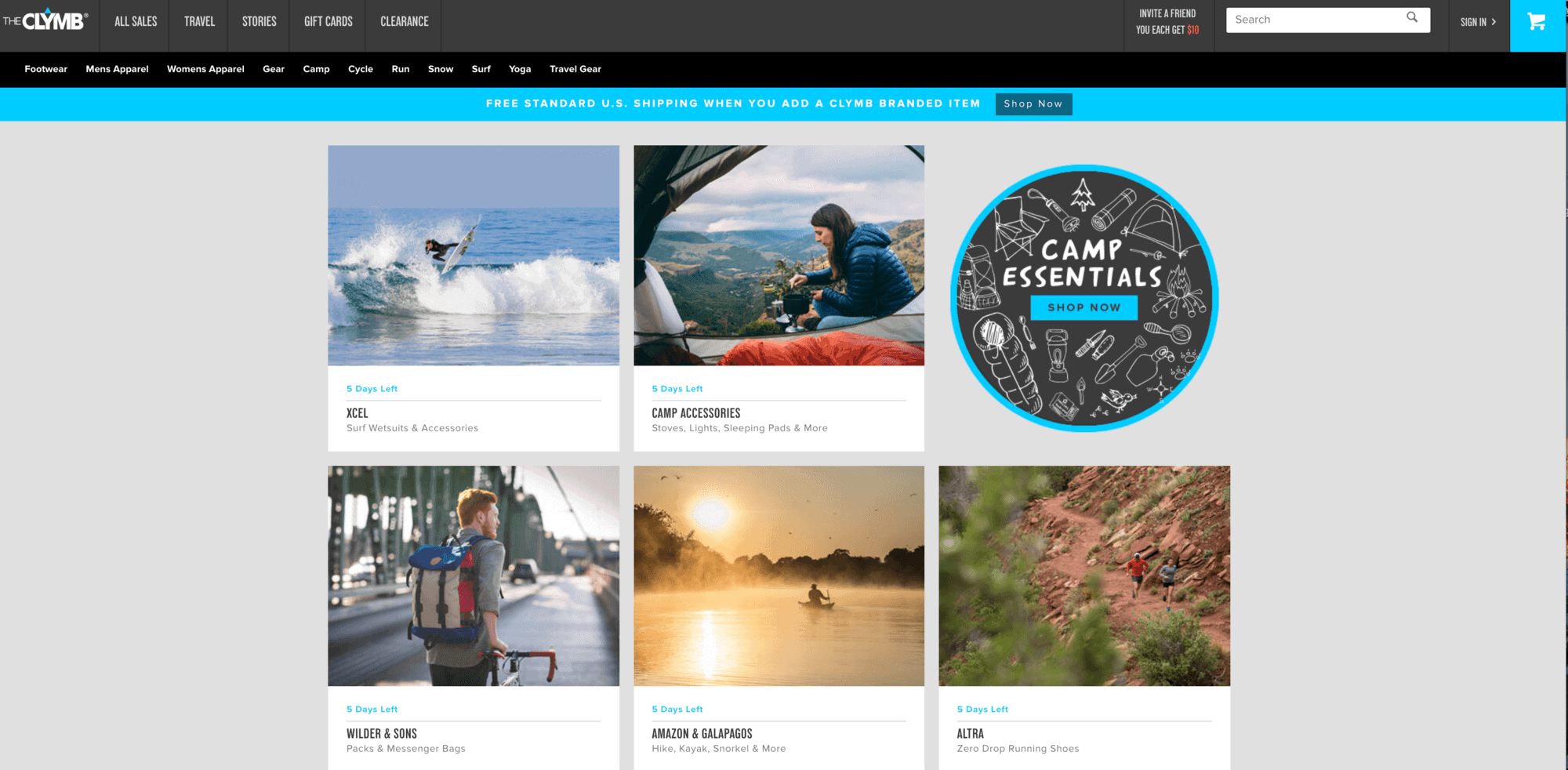 The Clymb - discounted outdoor gear