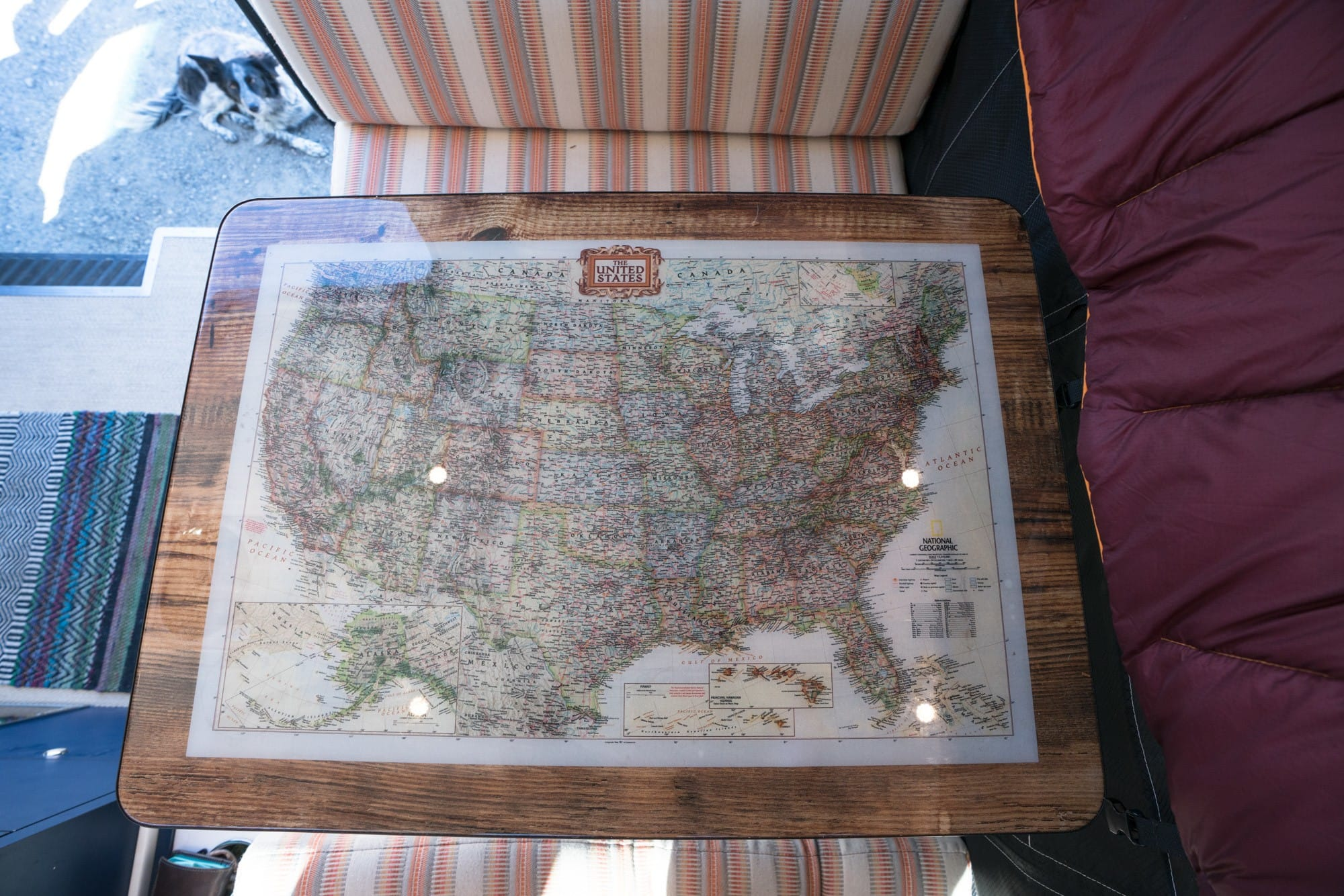 Awesome map dining table in a Sprinter Van
