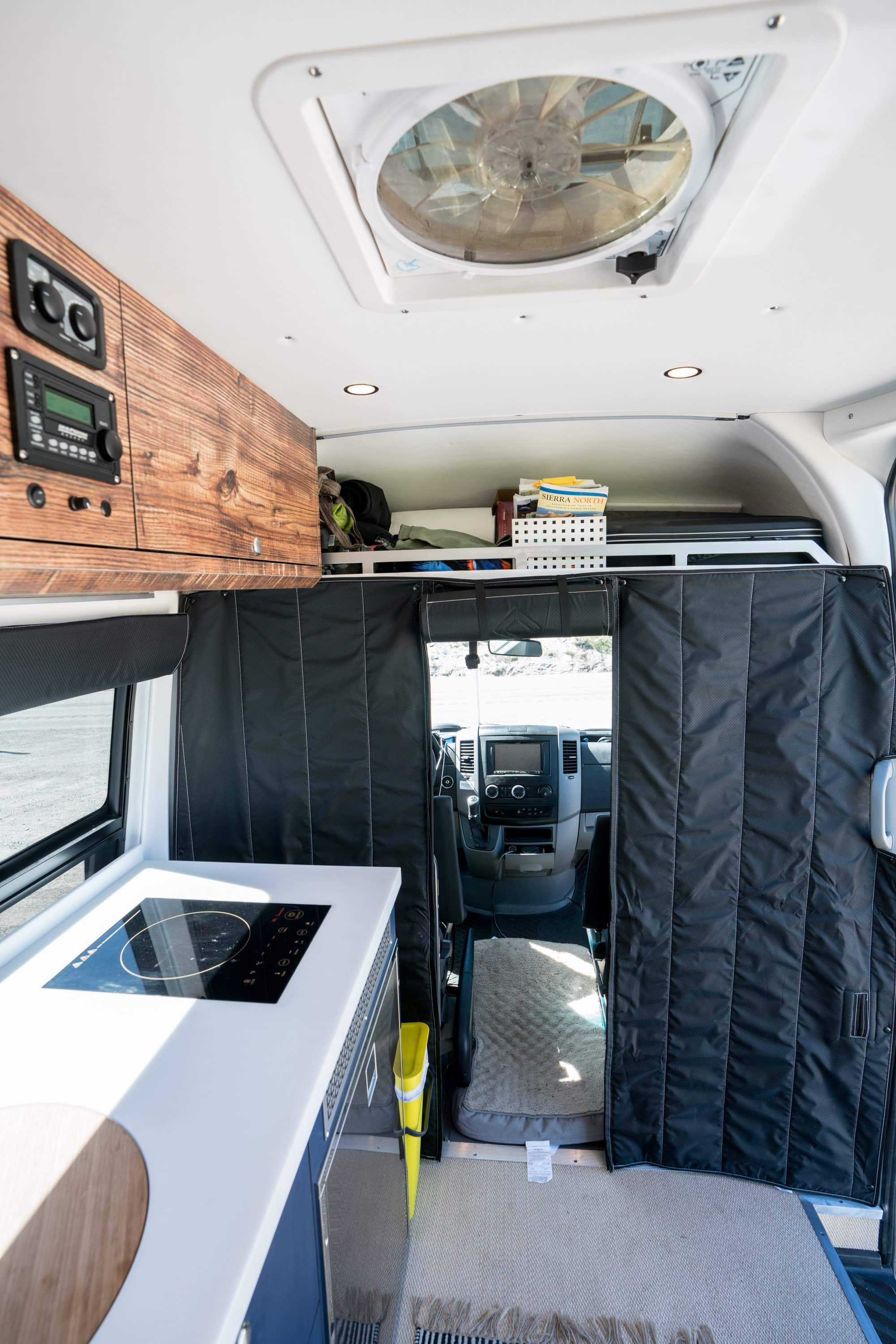 Insulated curtains in a Sprinter Van