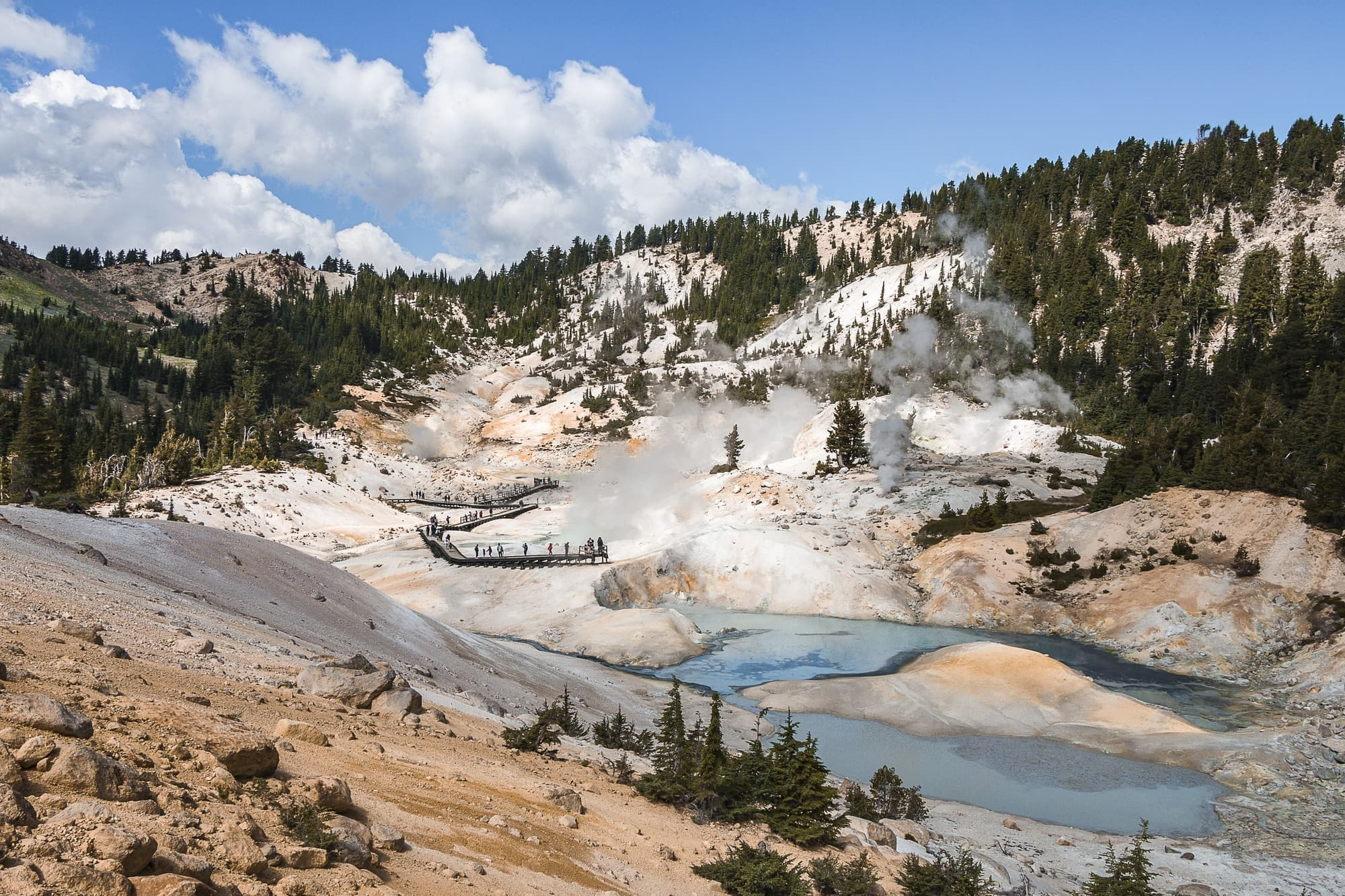 Bumpass Hell // Plan your Lassen National Park hikes with our roundup of the best hikes, including boiling hot pots, alpine lakes, and big summits.