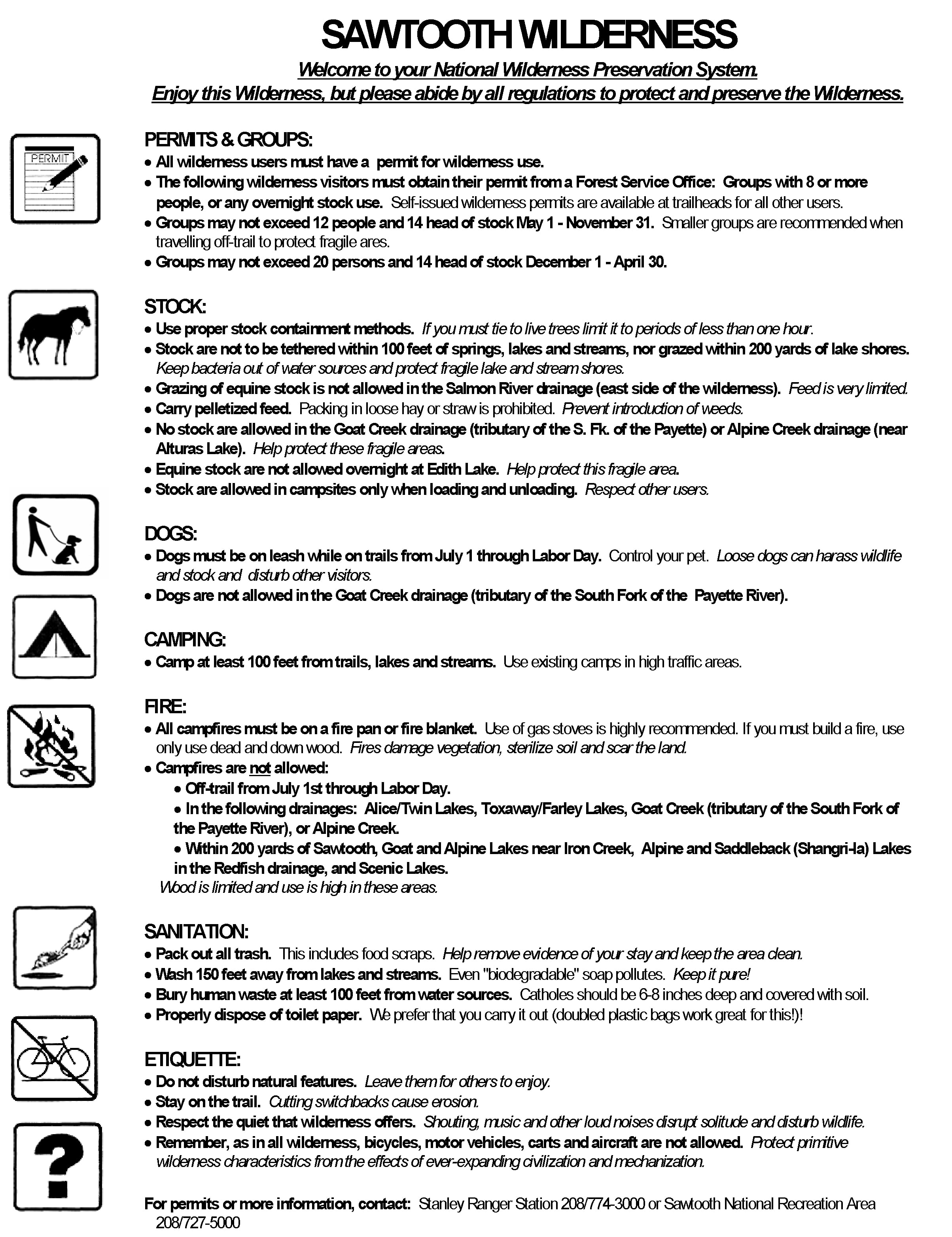 Sawtooth Wilderness Regulations