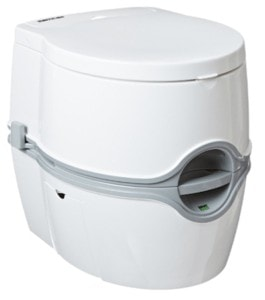 Thetford Curve Portable Toilet // Where do vanlifers go to the bathroom? Learn about the best campervan toilet options, the pros and cons of each, and my method of choice.