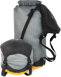 The Sea to Summit Compression Sack reduces the size of your clothing and gear while keeping it dry.