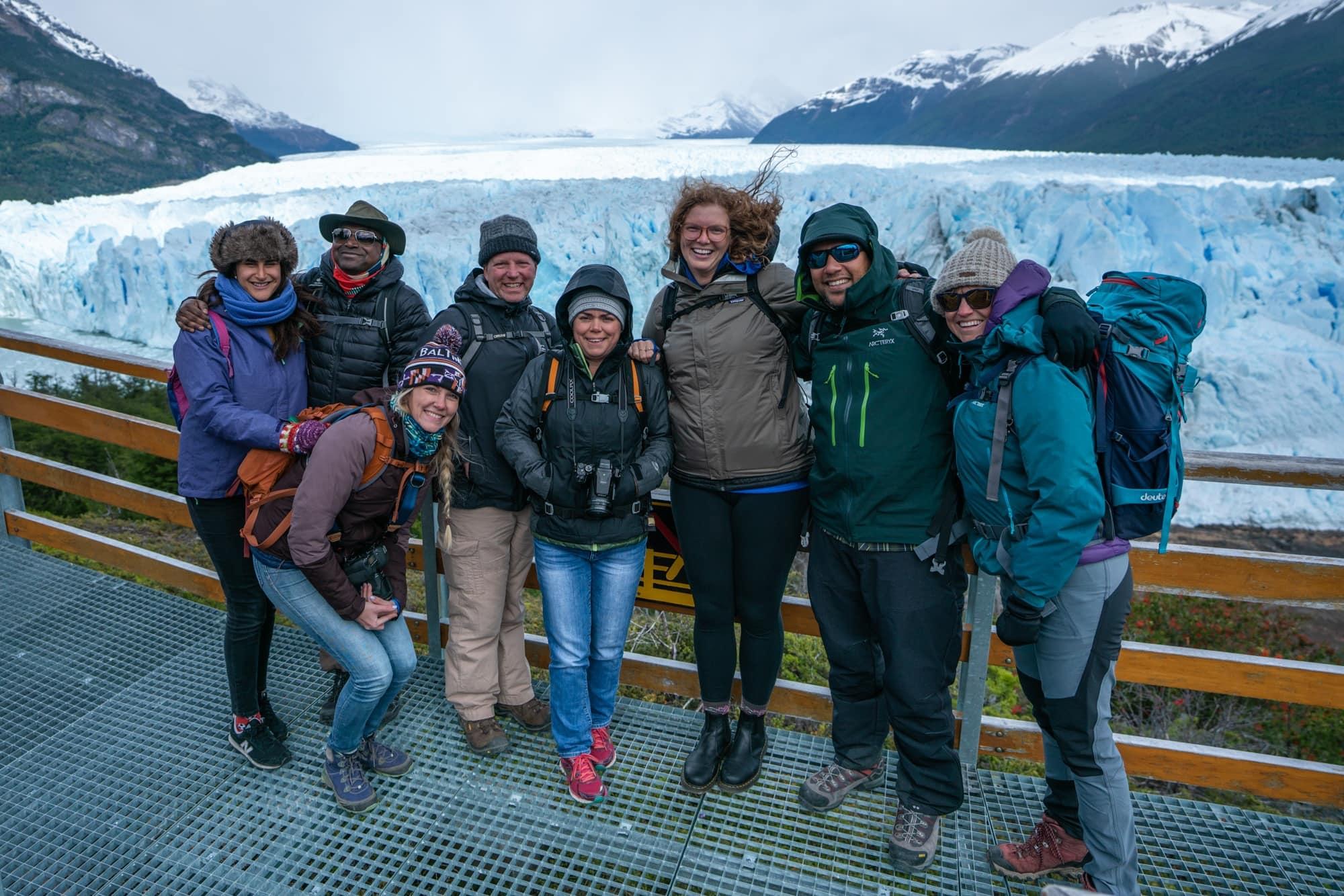 Walking the boardwalk at Perito Moreno Glacier in El Calafate, Argentina (Patagonia)
