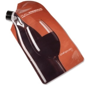 Never carry a glass wine bottle on backpacking trips again. Use this lightweight wine carrier to pack it in.