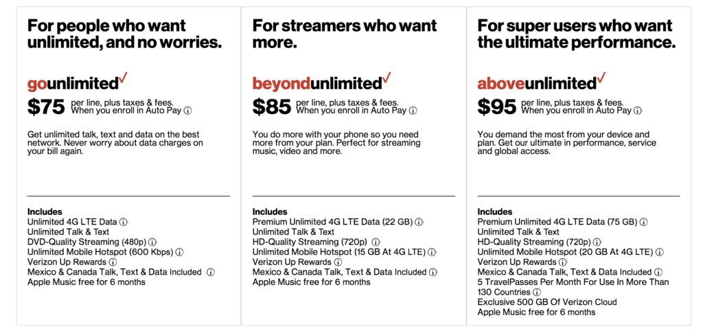Verizon's unlimited data plans make it easy to stay connected while traveling.