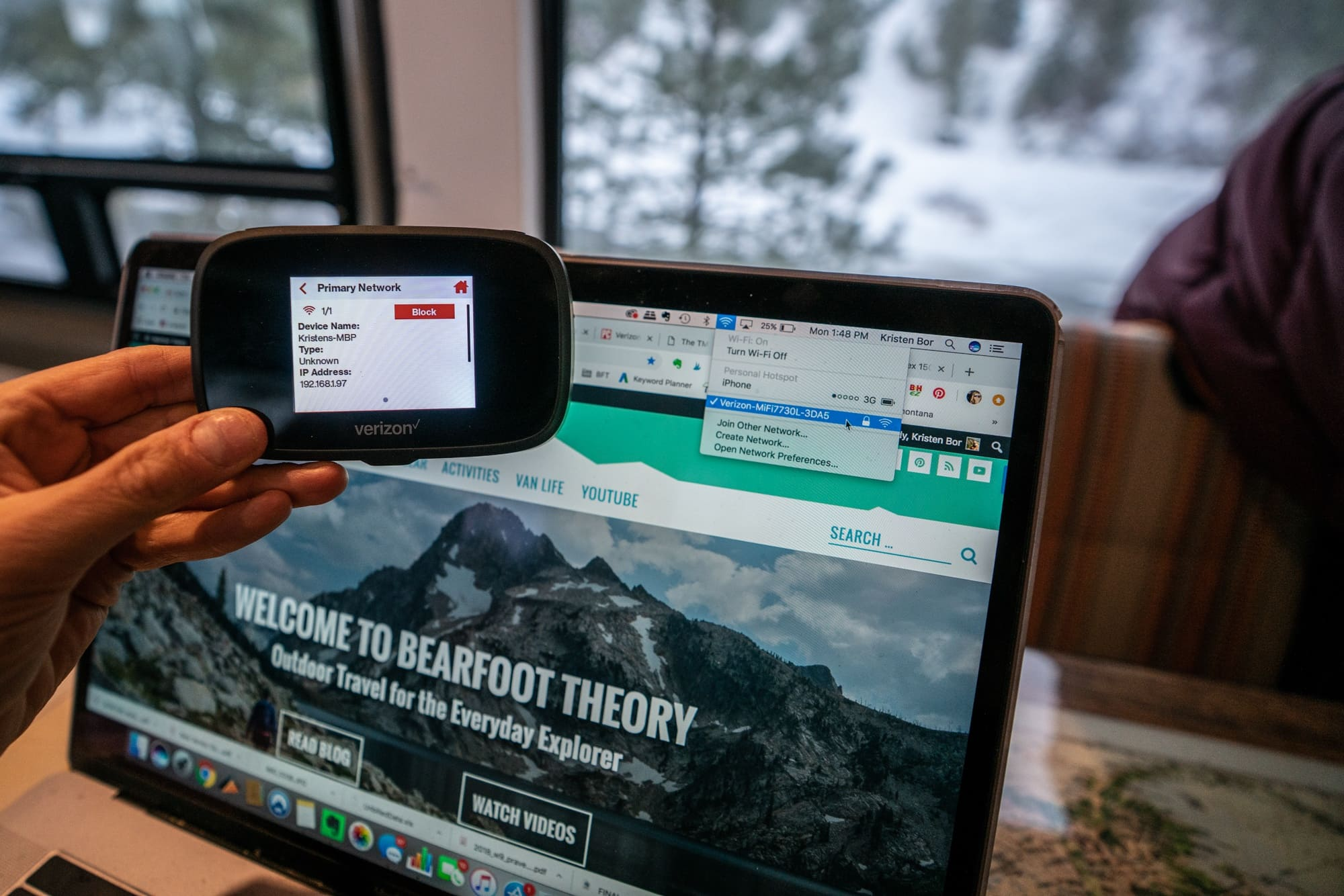 The Verizon Jetpack is a simple hotspot device for staying connected on the road. Learn more about vanlife internet in this blog post.