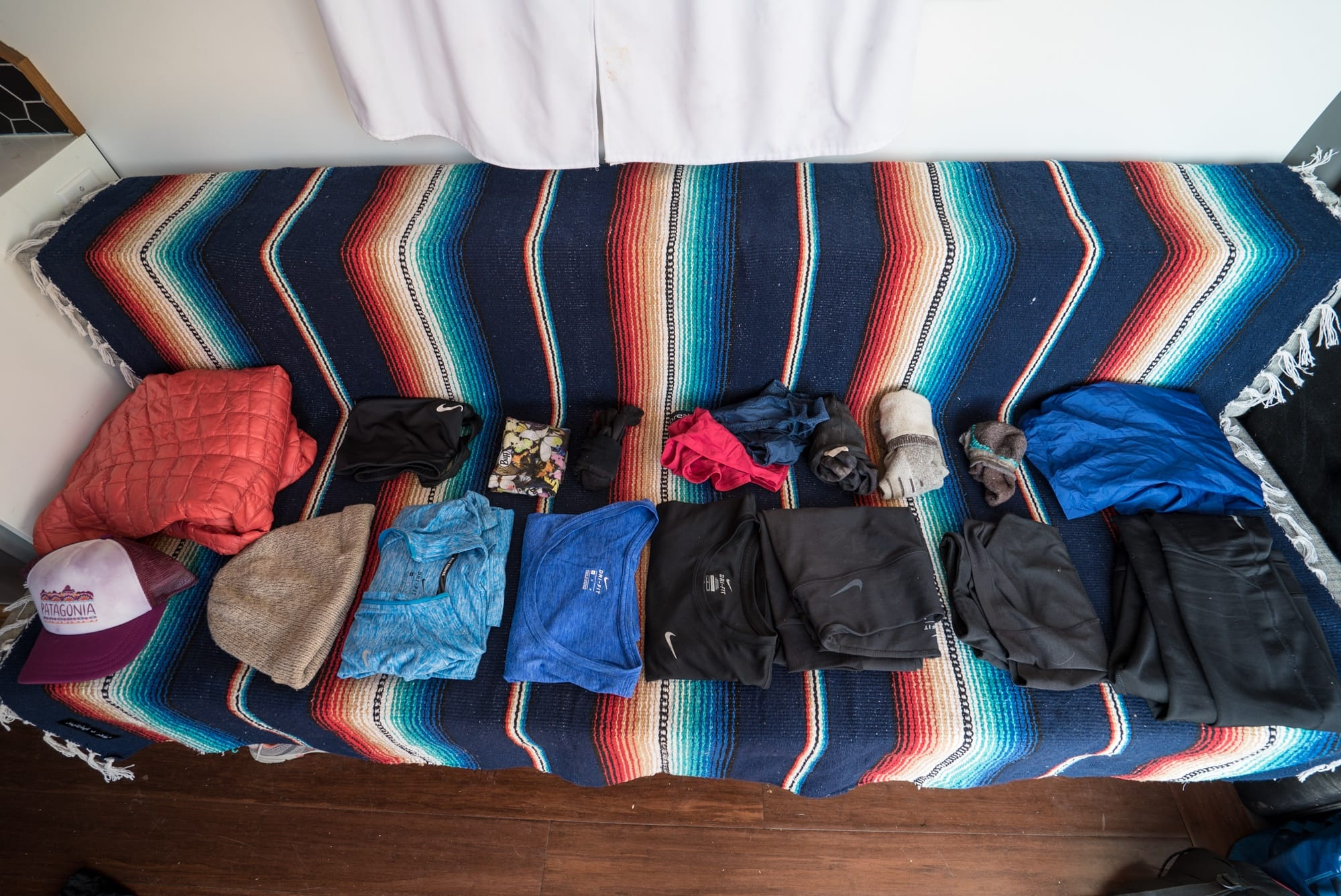 All of my clothes for a multiday backpacking trip