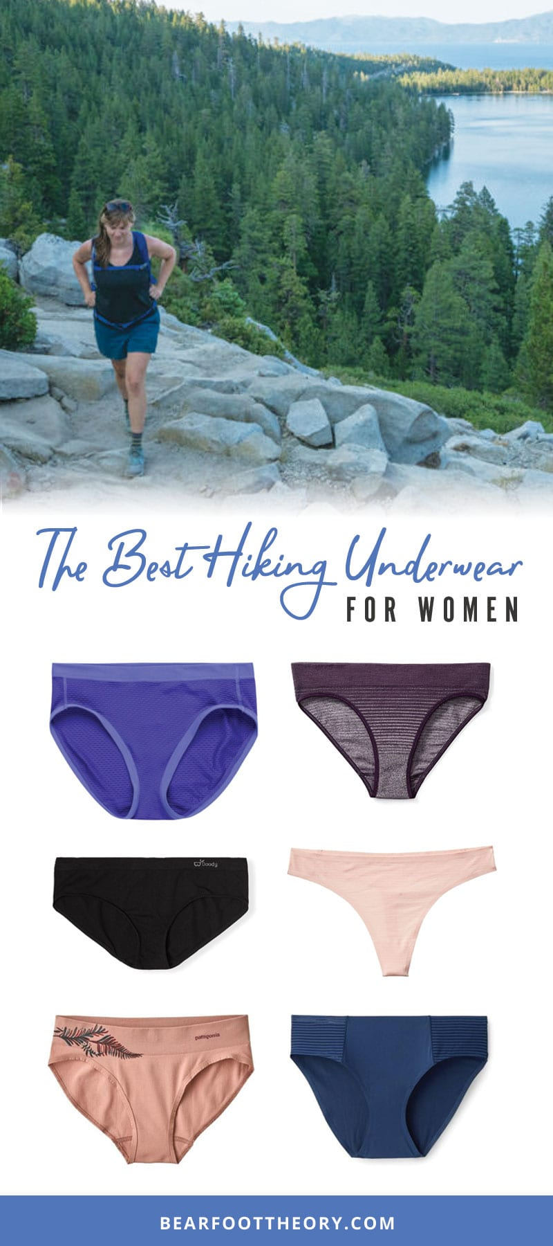 A round-up of the best women's hiking underwear made or wool and nylon that won't chafe or move & efficiently wick moisture when you're active outdoors.