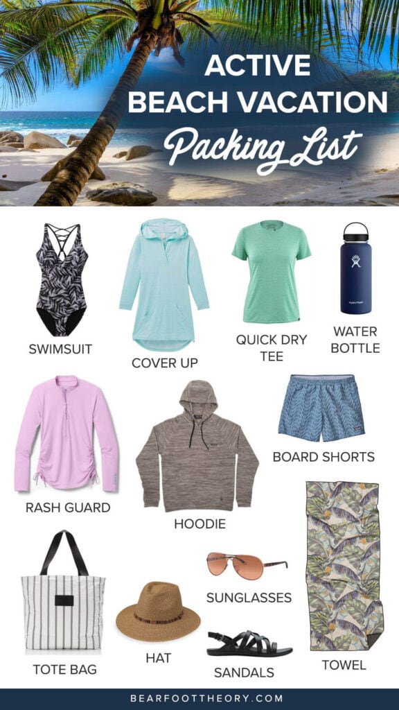 Get ready for your next vacation with this beach essentials packing list. Find the best beach-worthy sandals, activewear, gear, and more!
